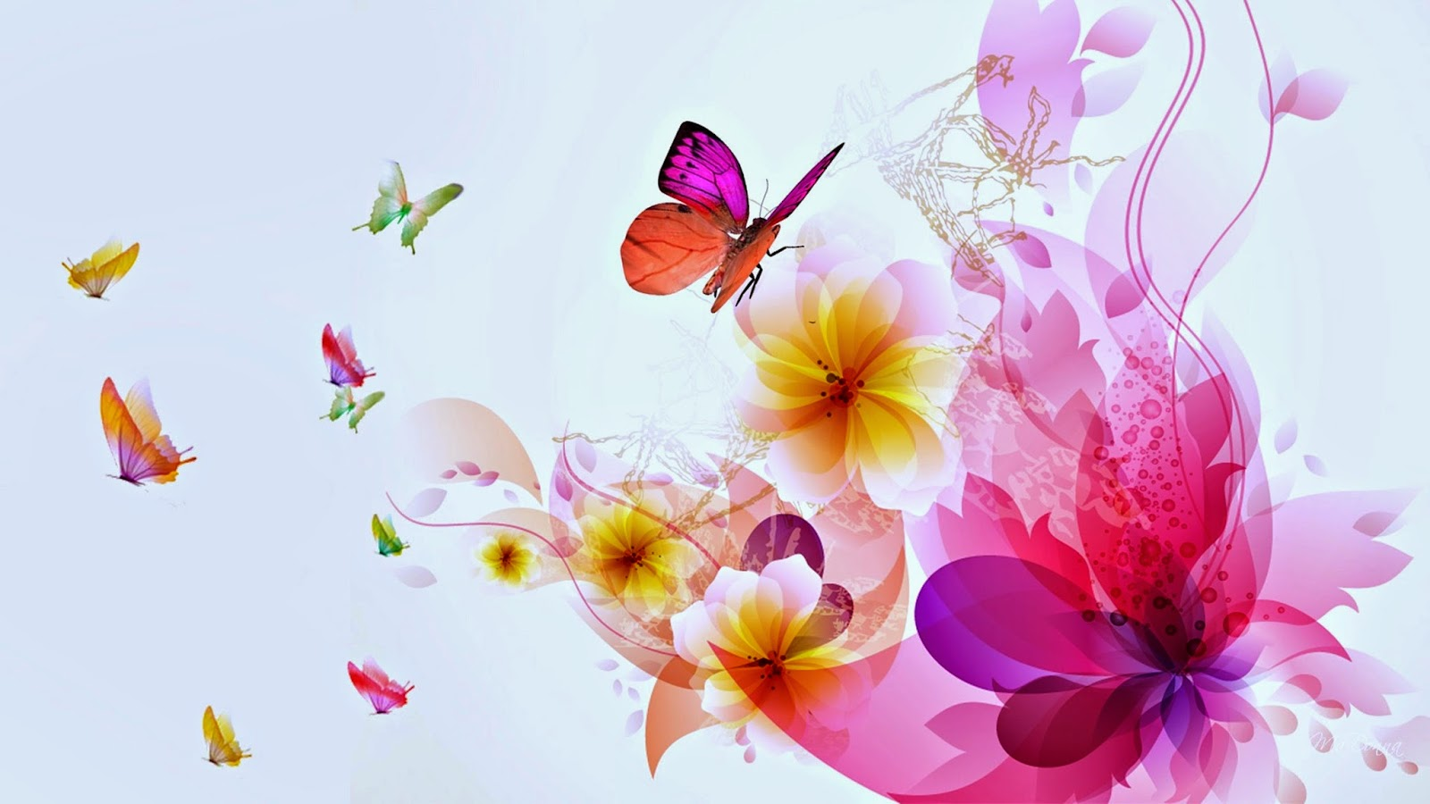 Colorful Butterfly designs background for desktop Abstract HD 1600x900