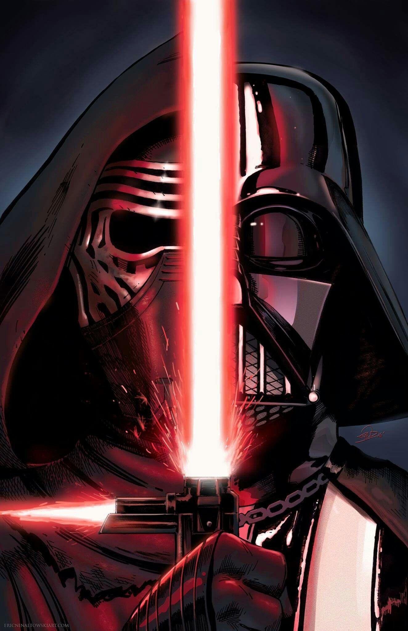 Kylo Ren and Darth Vader print Art by Eric Ninaltowski Check out 1324x2048