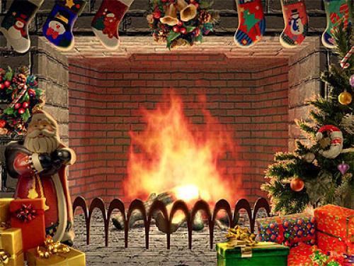 Christmas Fireplace wallpaper 500x375