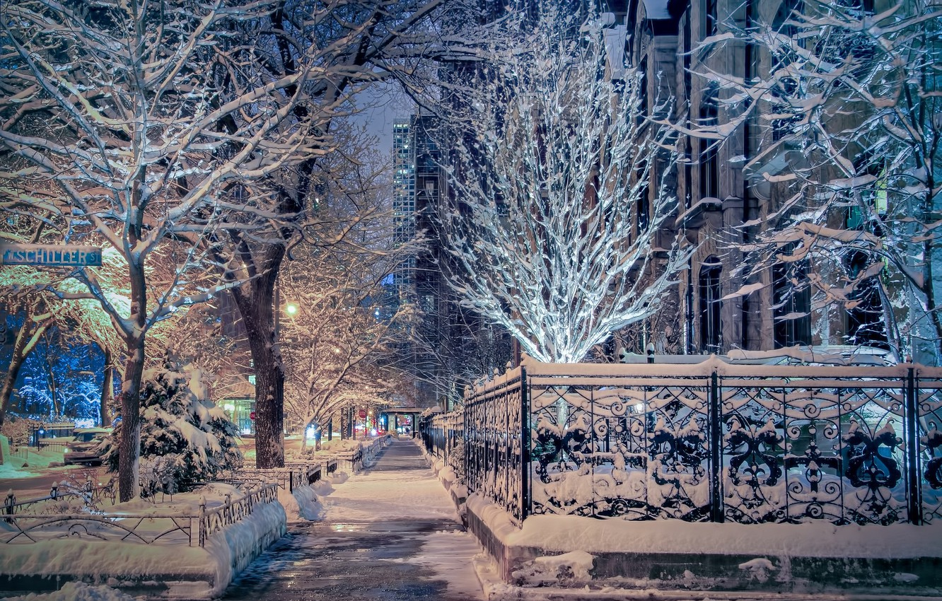 Wallpaper winter snow trees street Chicago Il Chicago 1332x850
