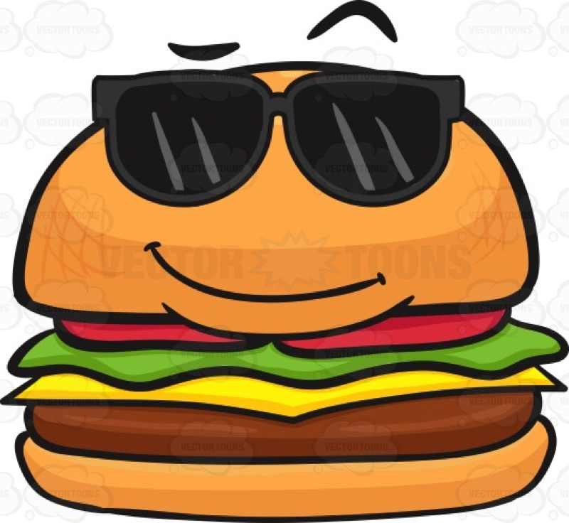 Hamburger Wearing Sunglasses Cartoon Stock Clip Art • Vector Toons
