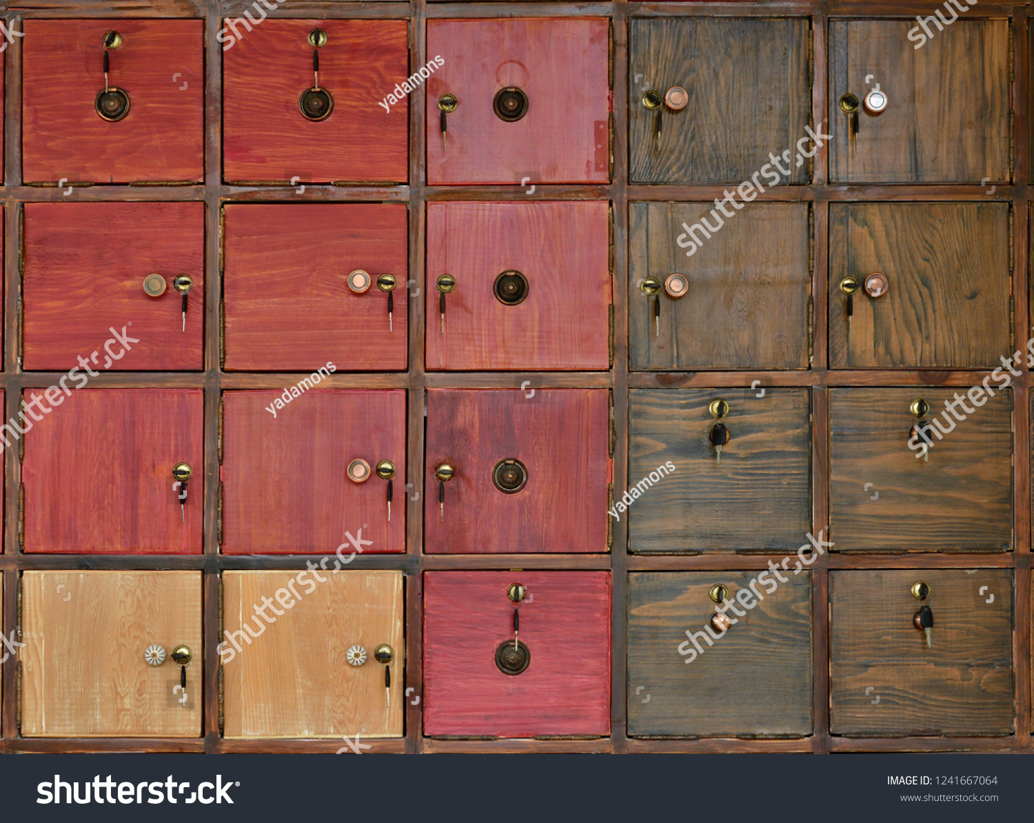 Closeup Vintage Red Wooden Cupboard Background Stock Photo Edit 1500x1194
