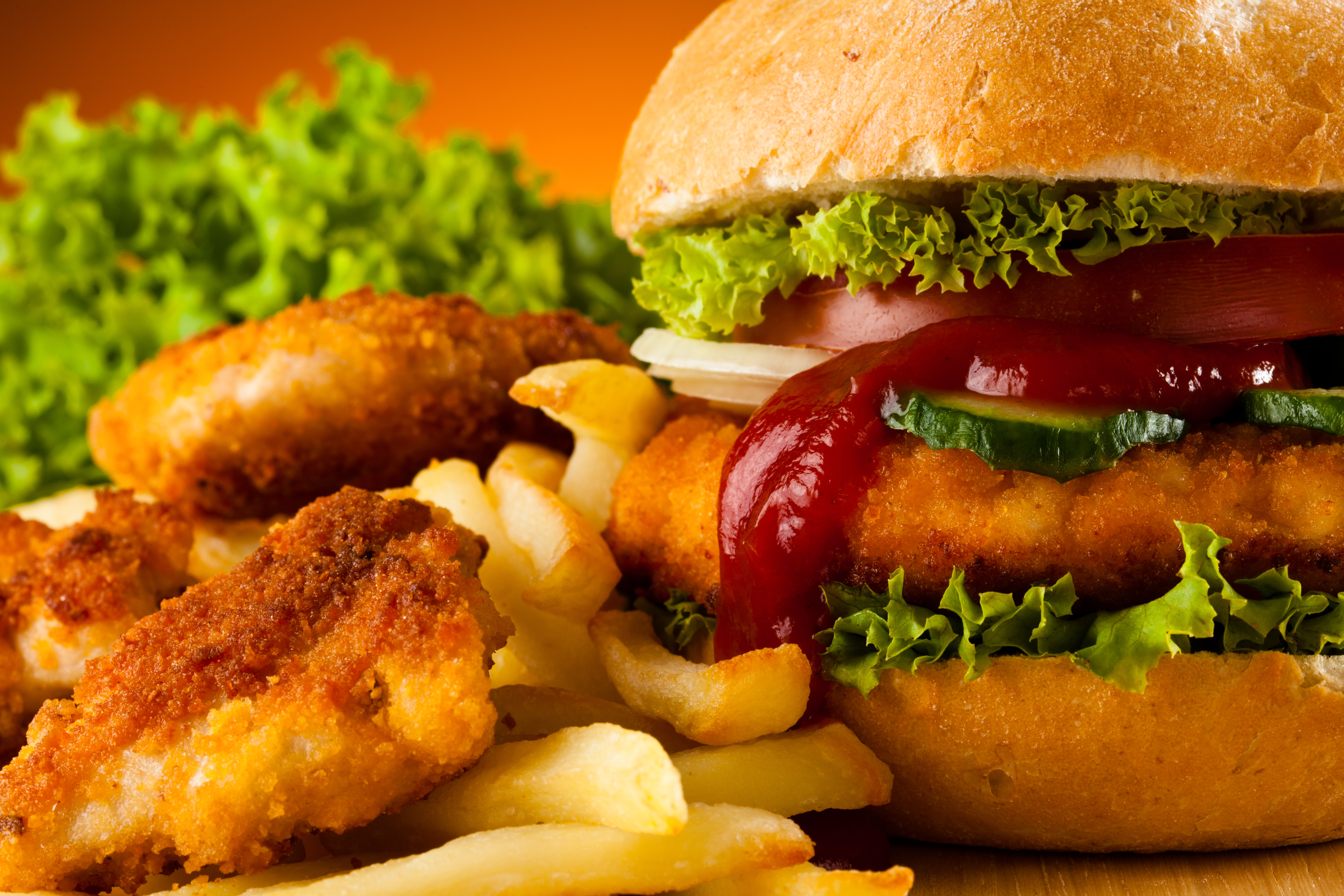 Fast food hamburger french fries chicken nuggets wallpaper 5616x3744