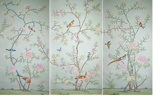 Griffin and Wong hand painted silk wallpaper panels 2 Flickr   Photo 500x316