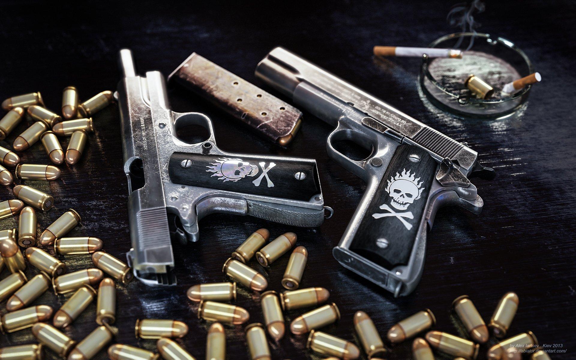 pistol ammunition clip colt ammo weapon gun skull wallpaper background 1920x1200