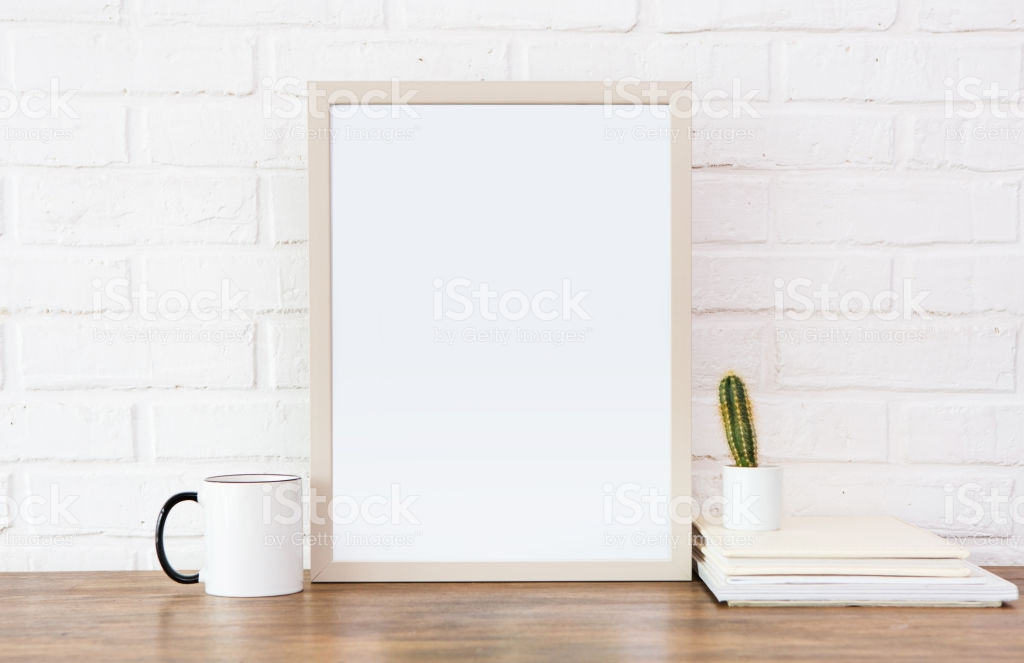 Comfortable Picture Table Cup Brick White Background Stock Photo 1024x663