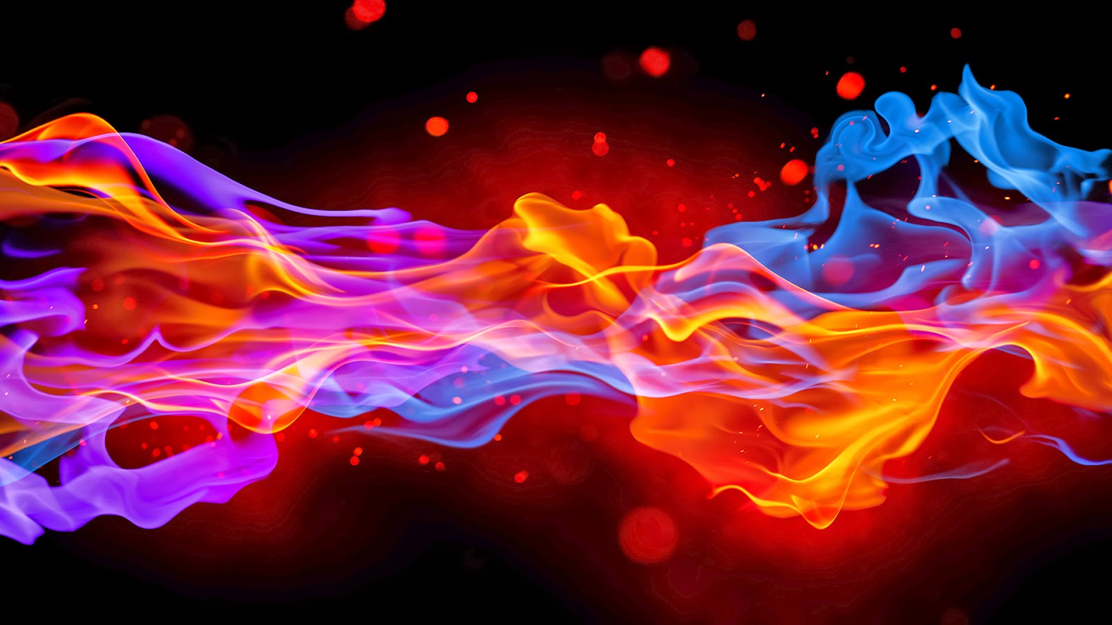 Blue And Red Fire Wallpaper 1600x900