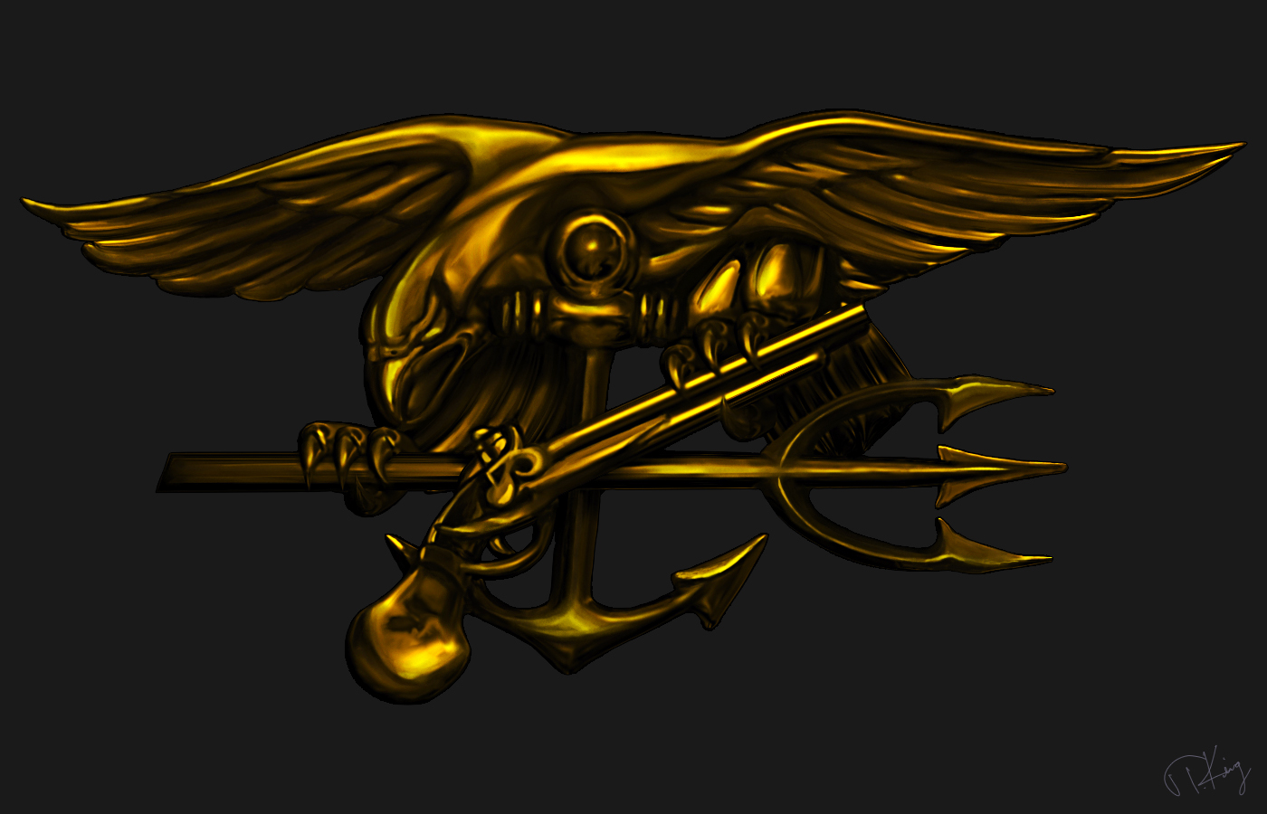 US Navy SEAL Trident by TKingArt 1400x900