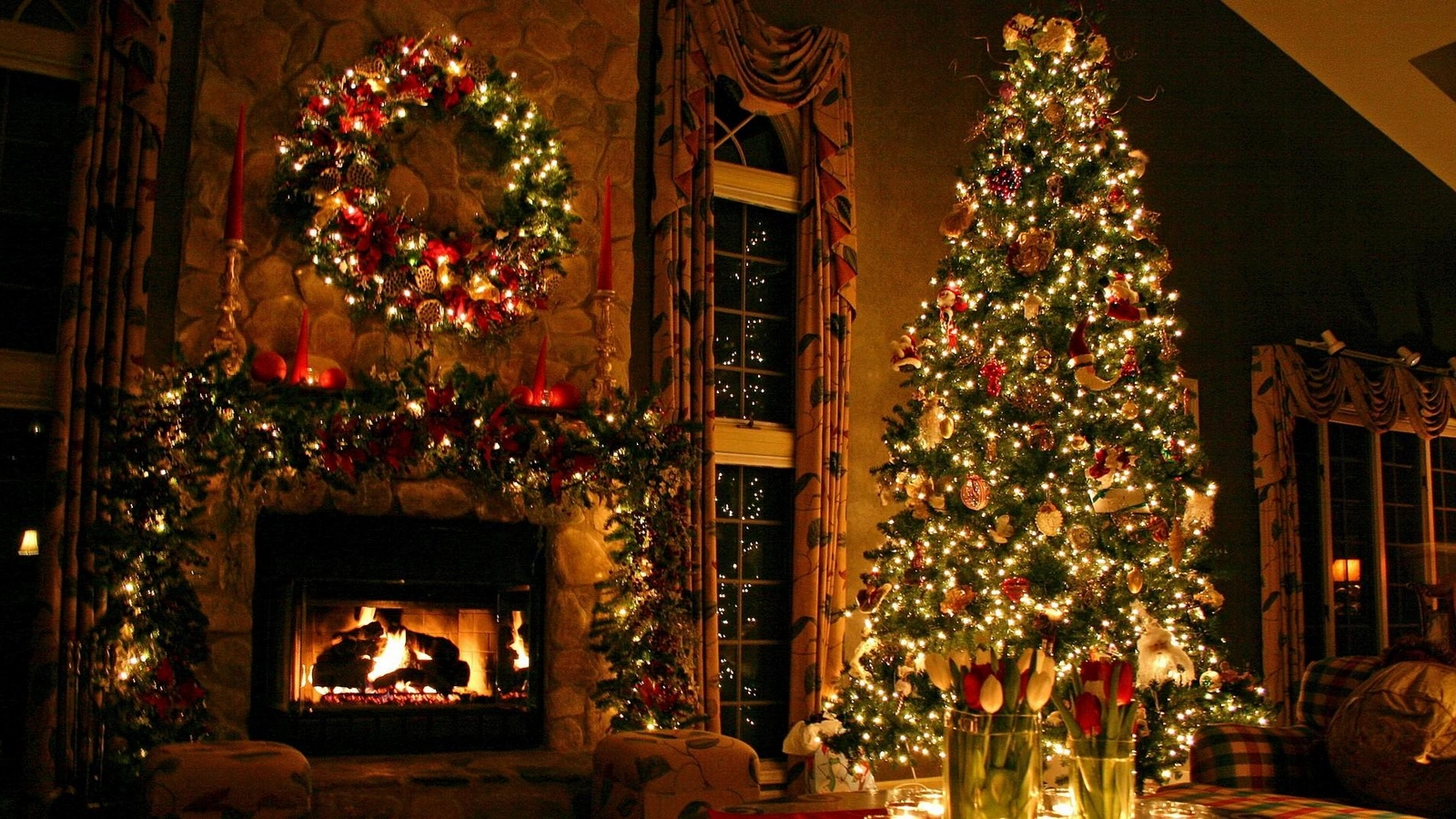 Download wallpaper 1600x900 christmas tree ornaments fireplace 1600x900