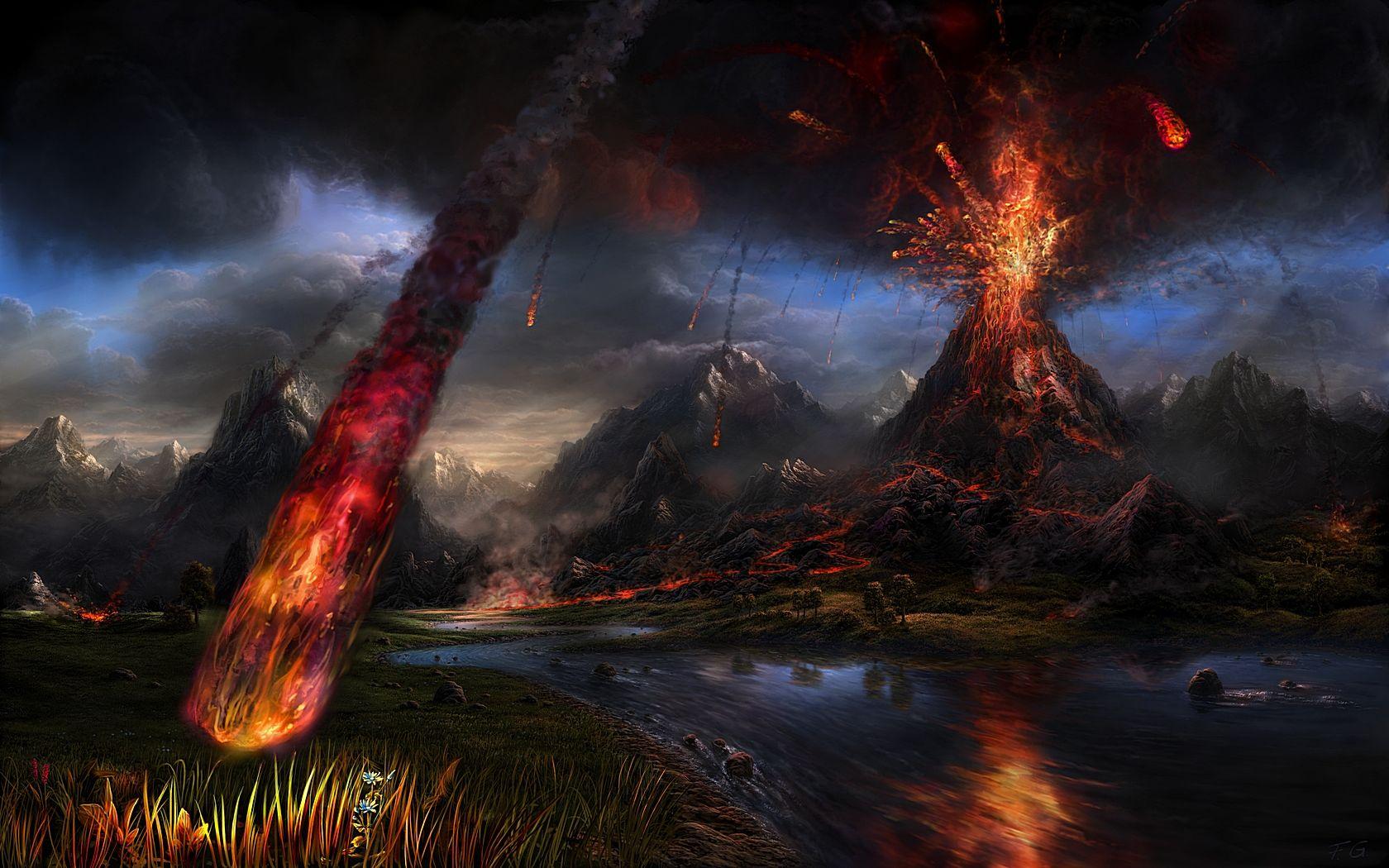 eruption by Fel X on deviantART Volcano wallpaper Fantasy 1680x1050