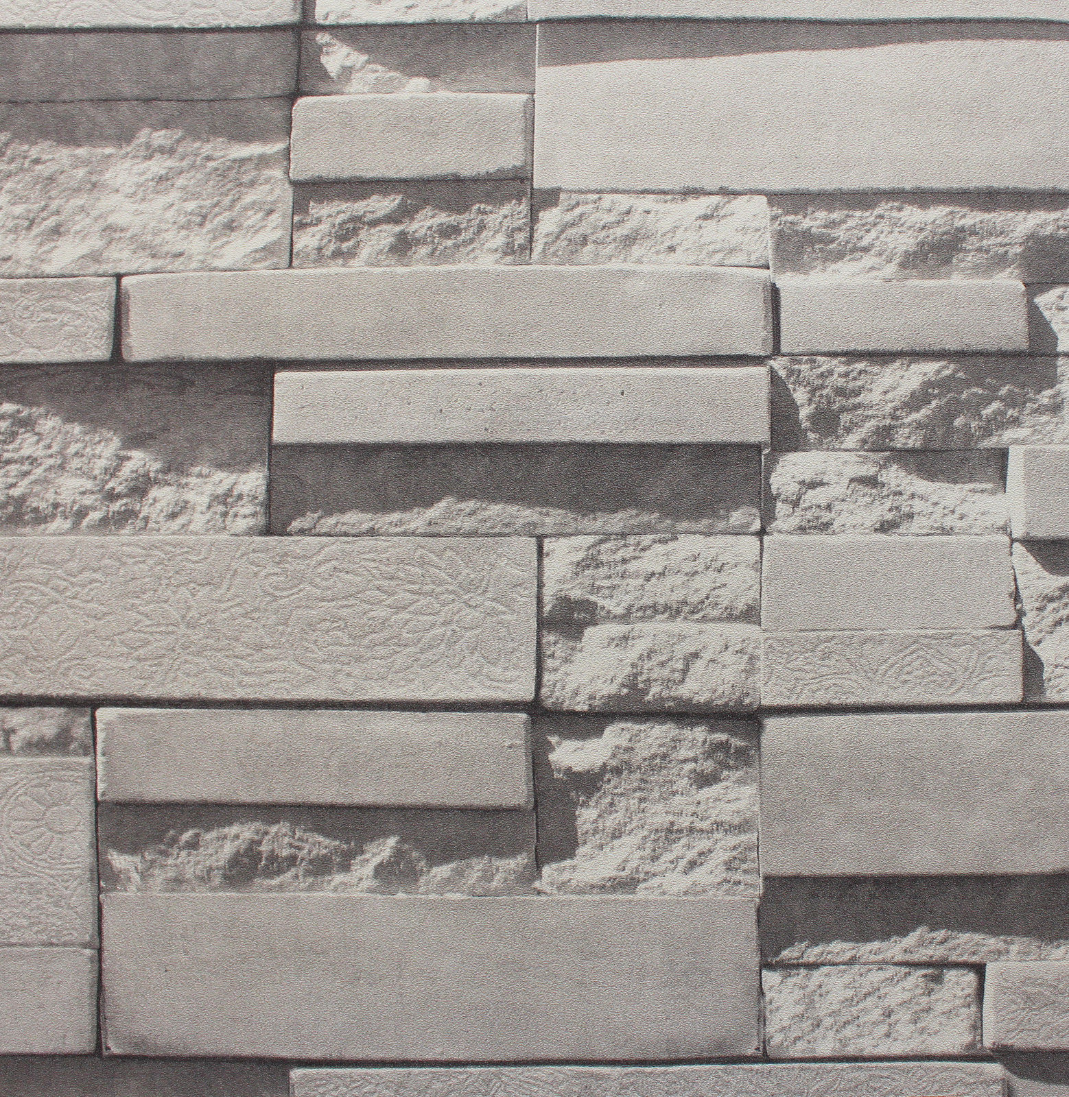 ... 10M Roll 3D Real Look Realistic White Grey Brick/Stone Vinyl Wallpaper