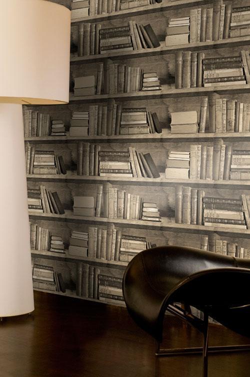 Sample   Bookshelf wallpaper   Sepia Bookshelf Wallpaper 500x752