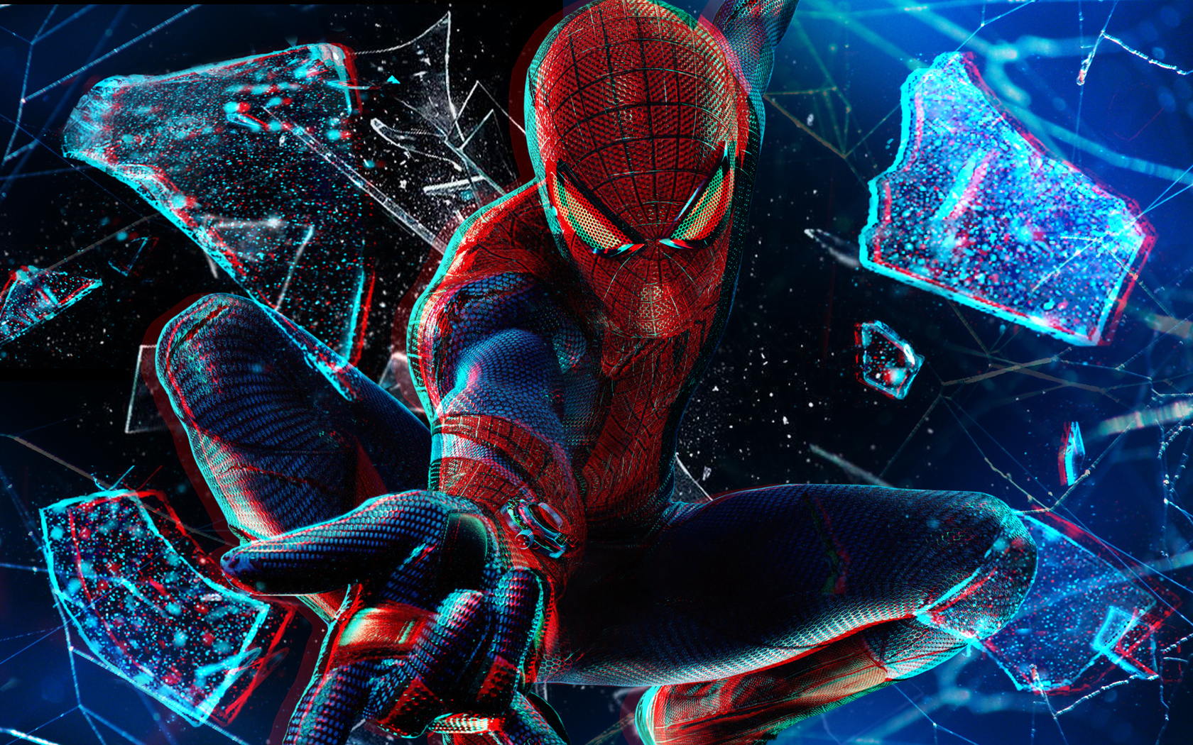 wallpaperarchives4380spider man wallpaper 3d 1080p broken glass in 1680x1050