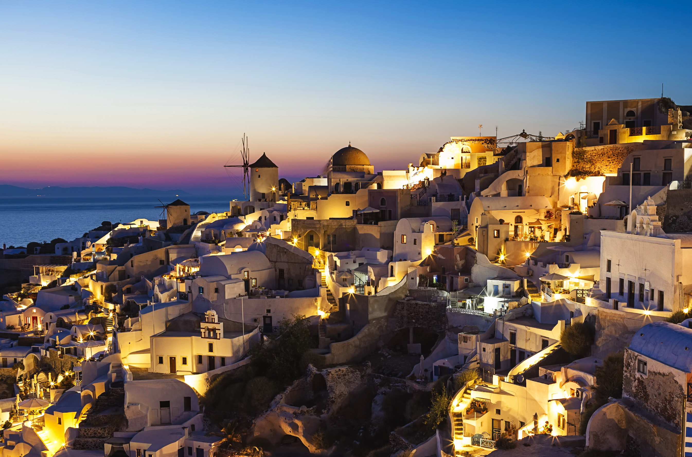 Santorini Wallpaper Night HD Wallpaper Background Images 2690x1780