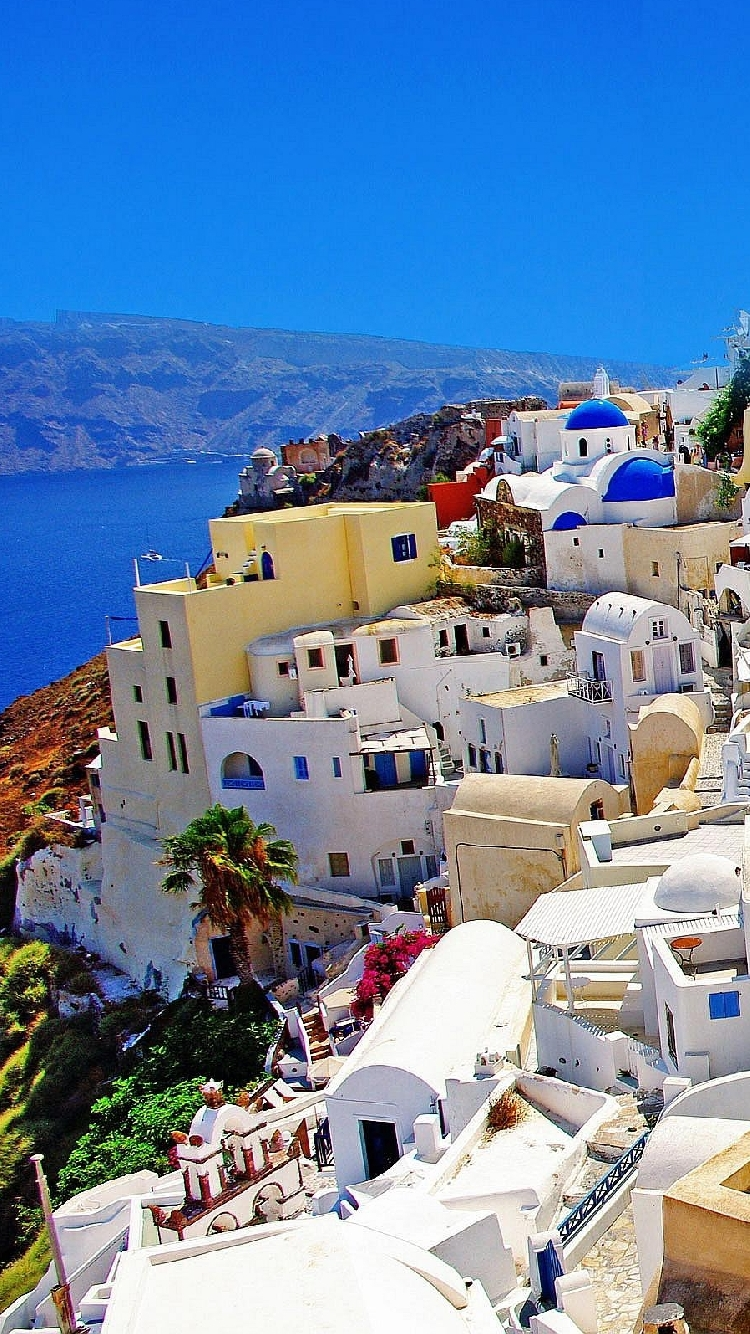 Santorini Greece Wallpaper iPhon HD Wallpaper Background Images 750x1334