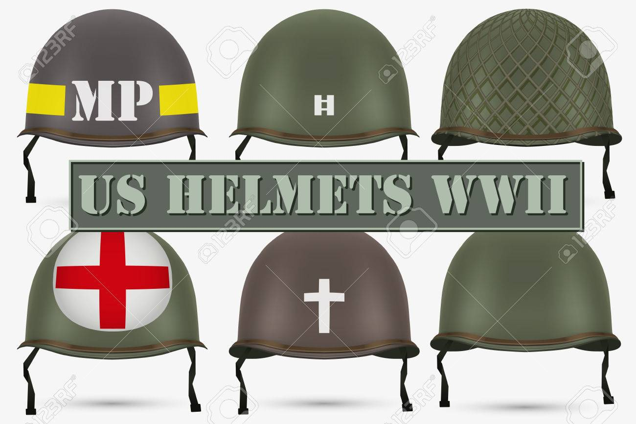 Set Of Military US Green Helmets Infantry Of WWII Insignia Of 1300x866