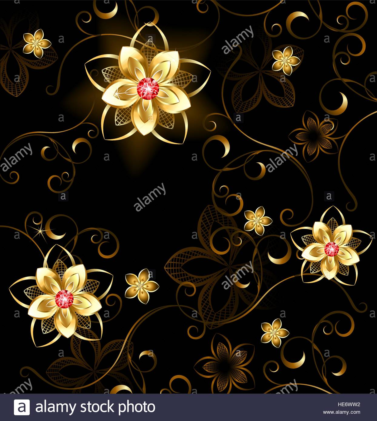 pattern of gilded flowers with bright rubies on a brown background 1244x1390
