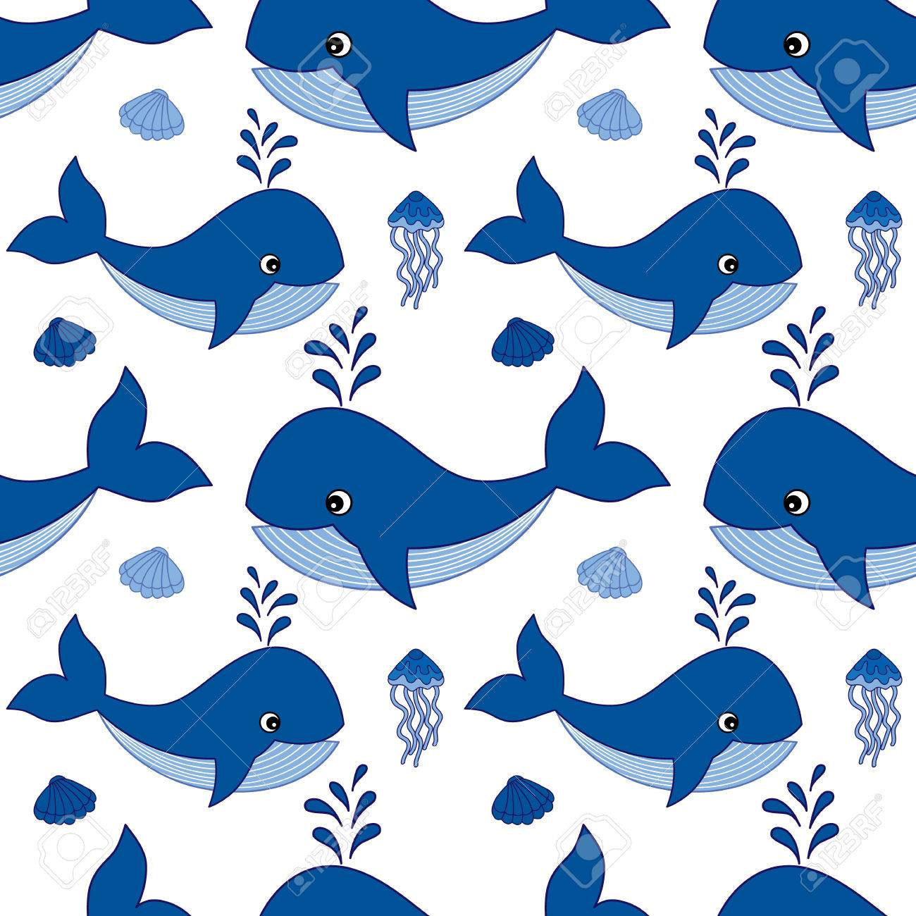 Vector Seamless Pattern With Baby Whales Jellyfish And Seashells 1300x1300