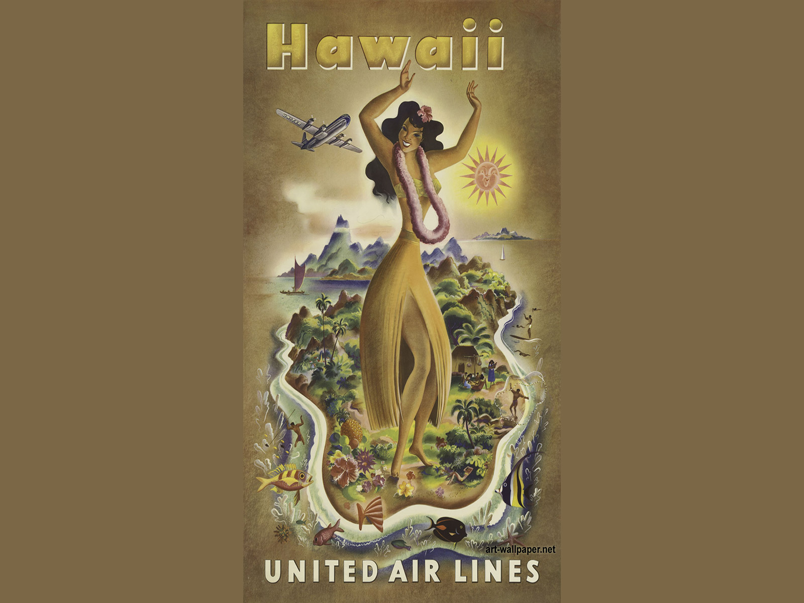 Download Hawaii United Air Lines Hula Dancer Poster Vintage Wallpaper 1600x1200