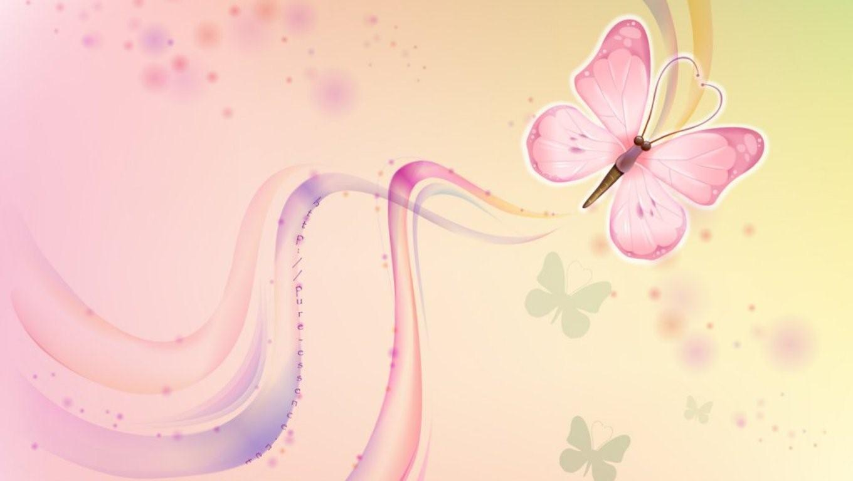 Beautiful Pink Butterfly Wallpaper   Pink Flower Wallpapers 1360x768