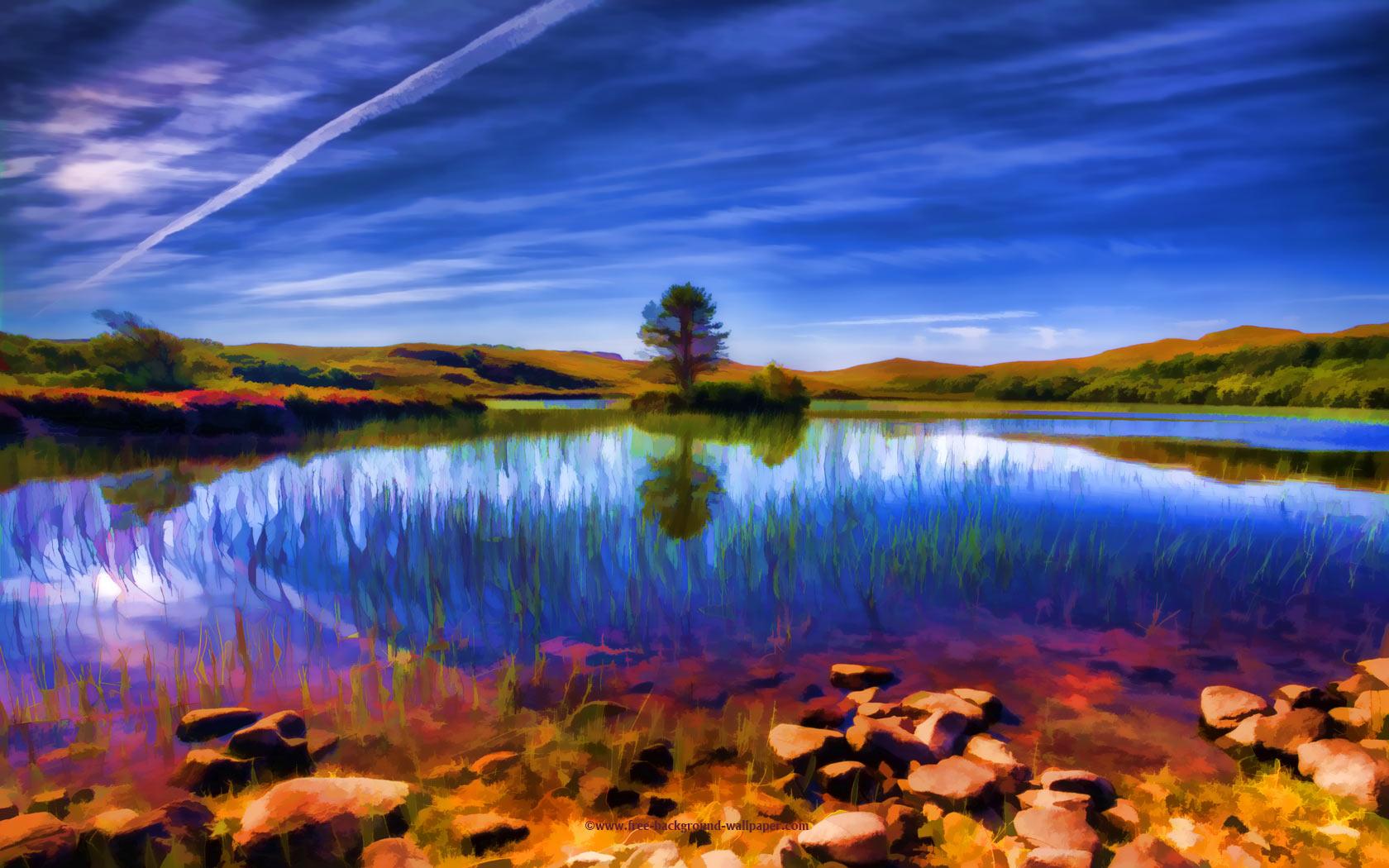 Beautiful Loch in Summer   Beautiful Background Wallpaper   1680x1050 1680x1050