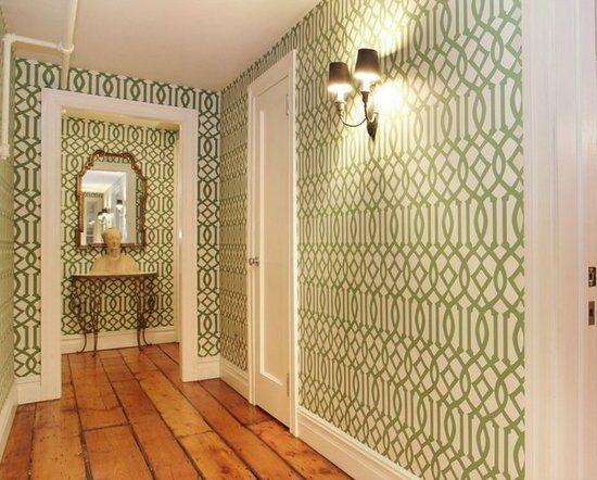 Sevigny NYC Apartment w Kelly Wearstlers Imperial Trellis wallpaper 550x442