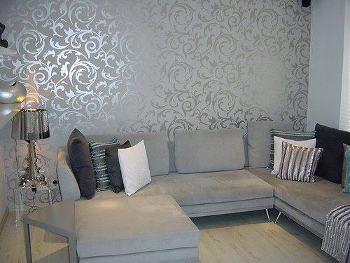 wallpaper for living room on Elegant Grey Wallpaper Living Room Flickr 500x375
