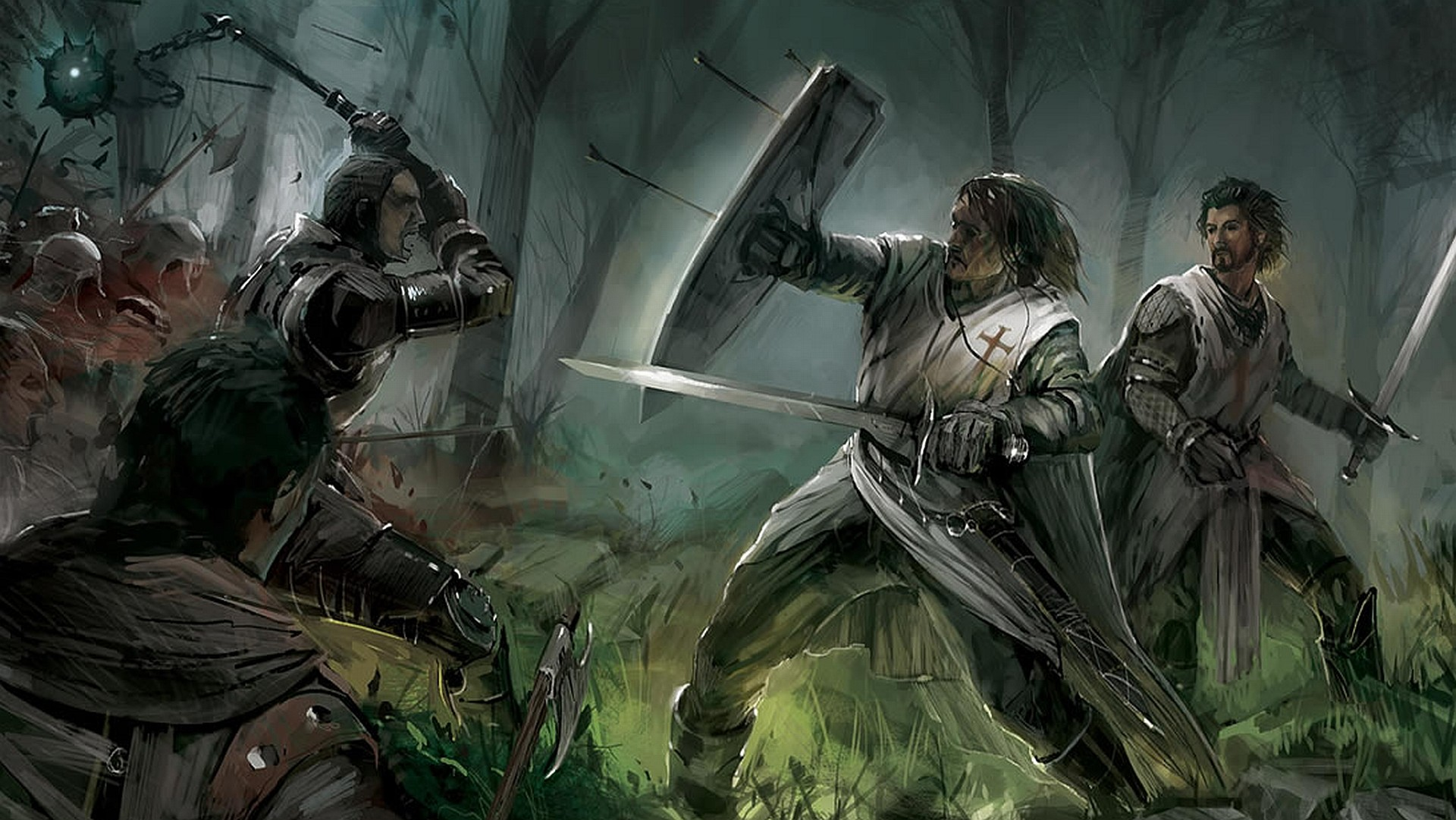 Pin Fight Wallpaper 1920x1081 Knights Templars Warriors Medieval on 1920x1081