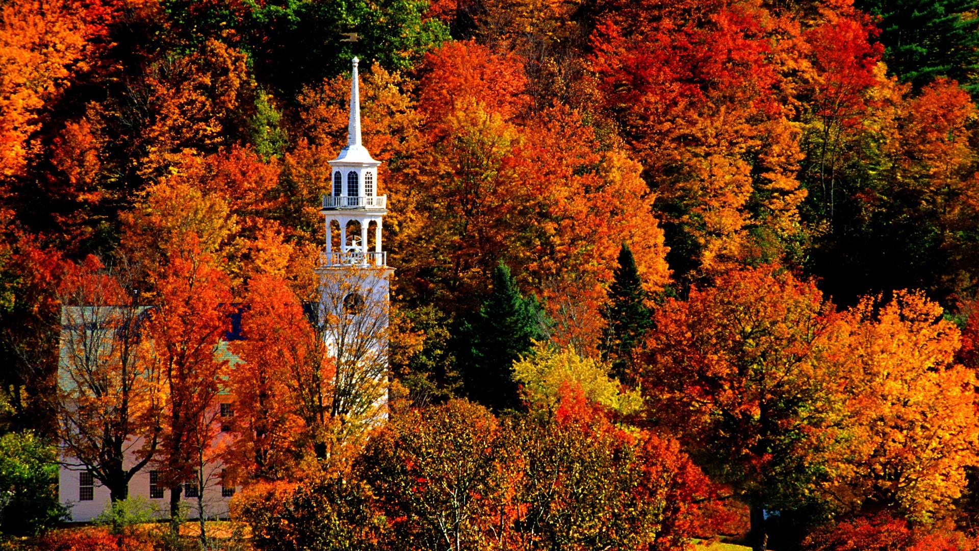 Church in Peak Fall Color, Strafford - 1920x1080 - Full HD Wallpaper