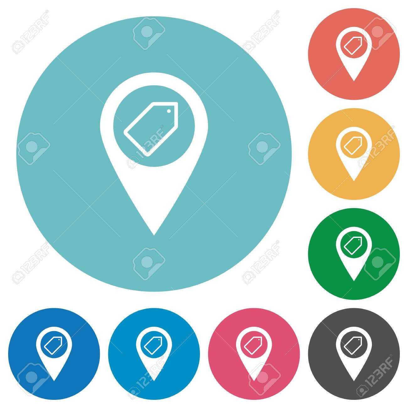 Tagging GPS Map Location Flat White Icons On Round Color 1300x1300