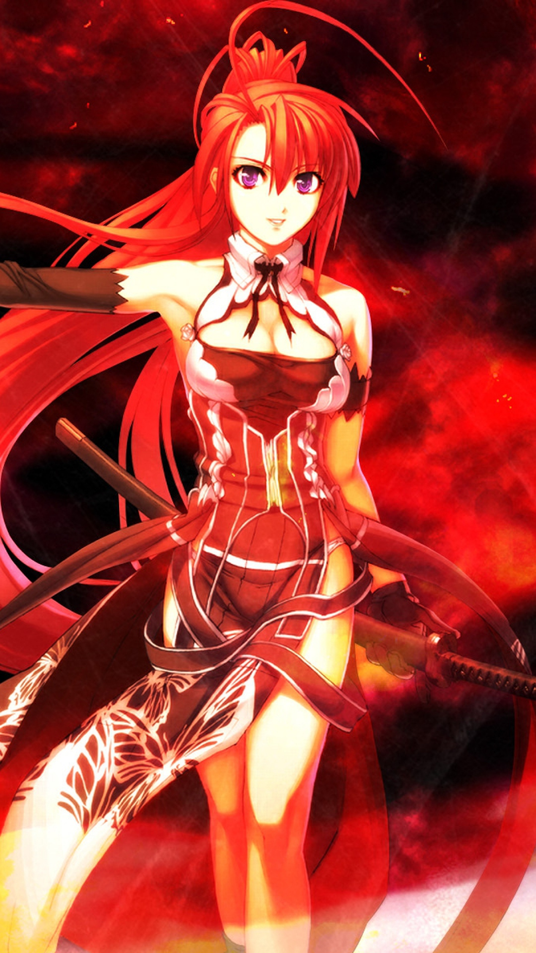 Download Wallpaper 1080x1920 anime girl red hair sword background 1080x1920