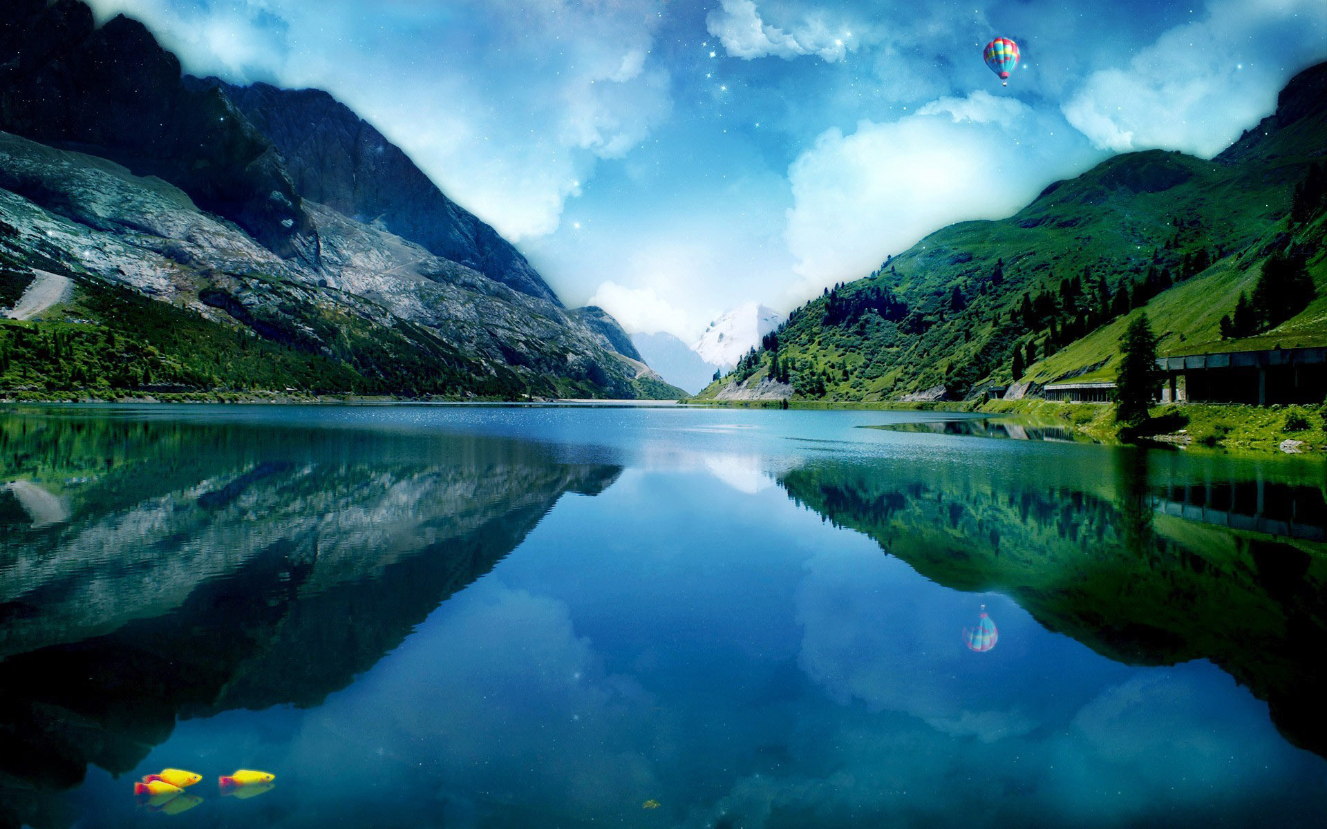 Lake Mountain Reflection Minimalism Wallpapers Hd: [40+] Mountain Lake Wallpaper On WallpaperSafari