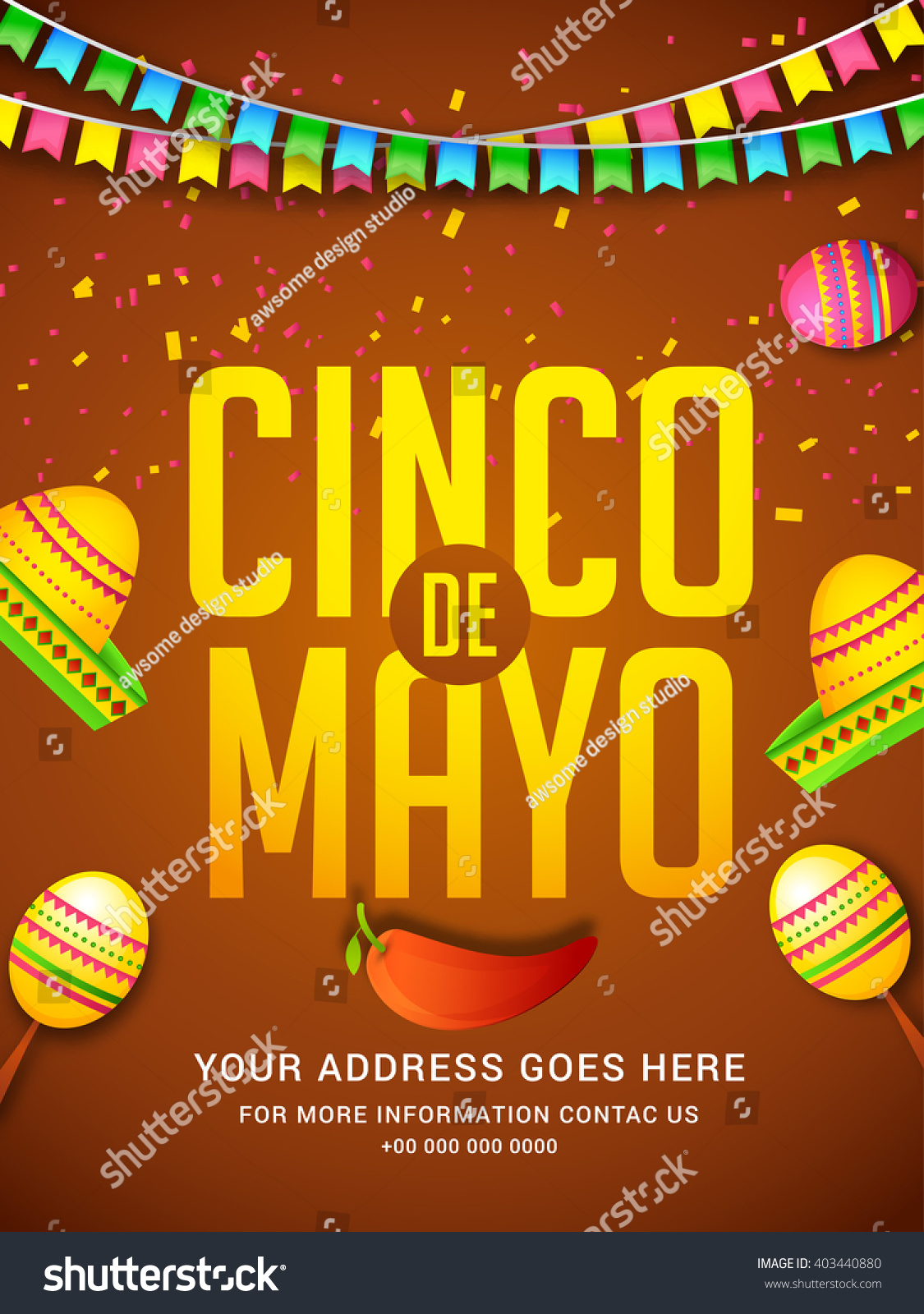 Poster Party Flyer Cinco De Mayo Stock Vector 403440880 1125x1600