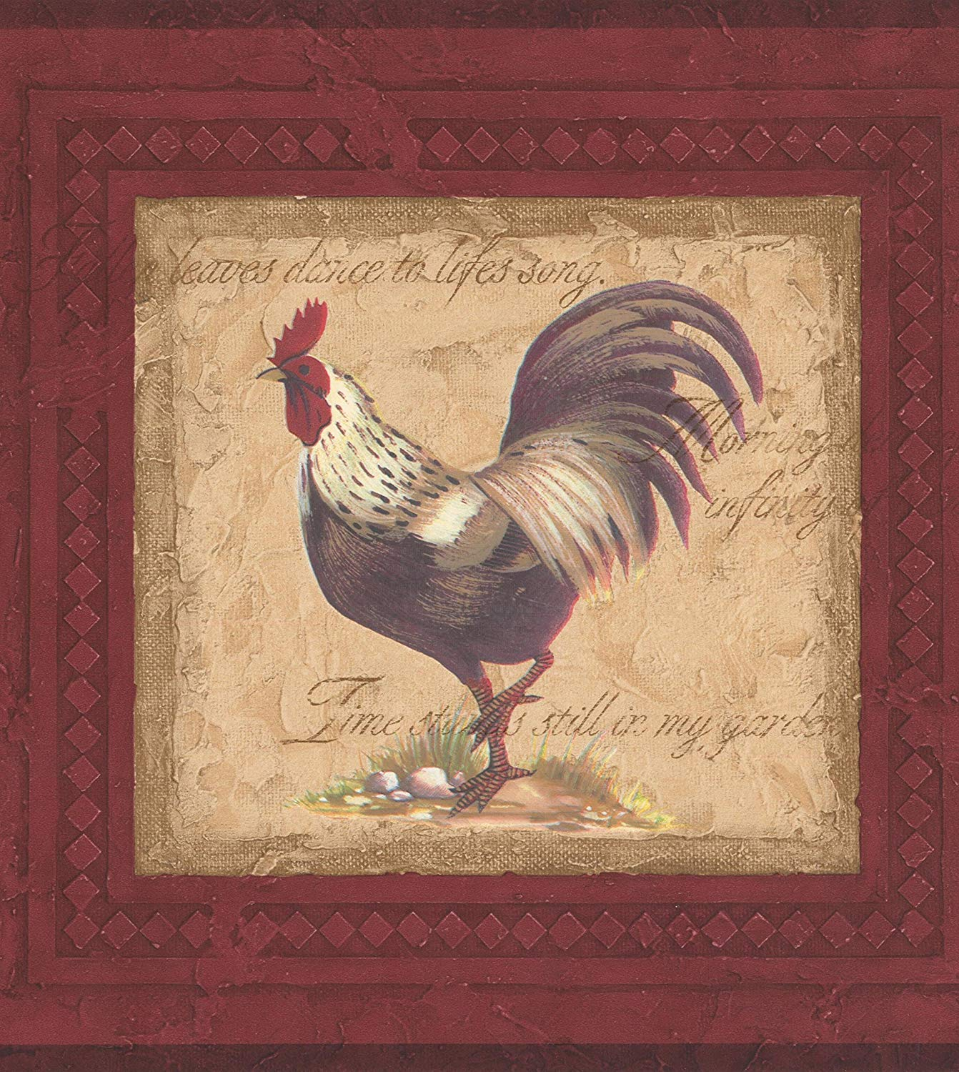 Vintage Rooster Paintings on Red Wall Extra Wide Wallpaper Border 1342x1500