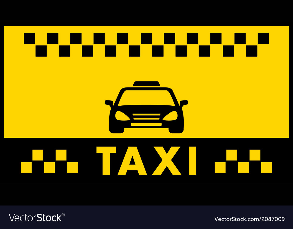 Taxi background with cab silhouette Royalty Vector 1000x780