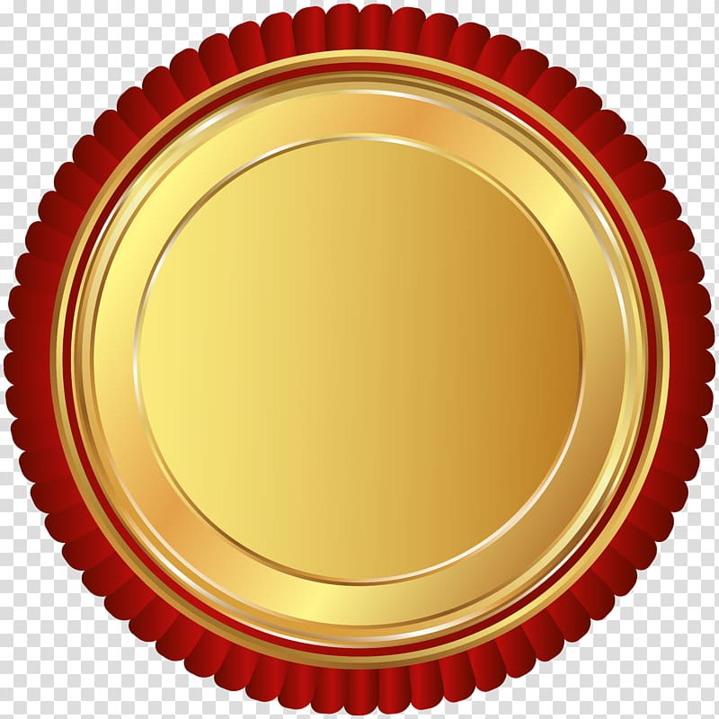 Round red and gold logo Gold Red Seal Badge transparent 800x800