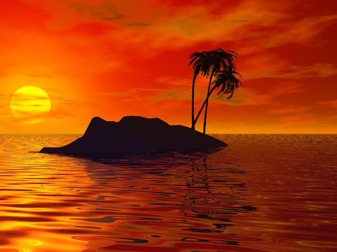 Hd Tropical Island Beach Paradise Wallpapers And Backgrounds: Island Sunset Wallpaper