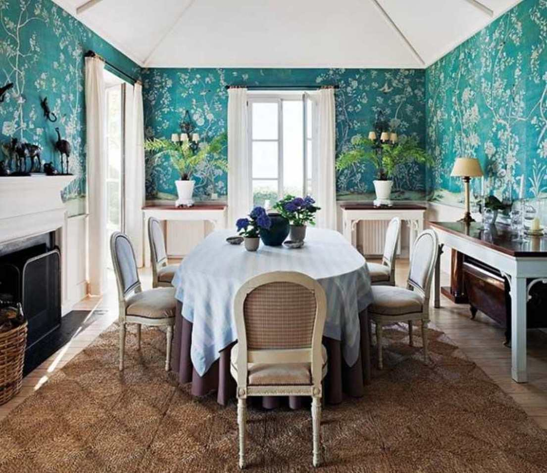 Designs Blue Floral Wallpaper Dining Room Designs With Wainscoting 1105x957