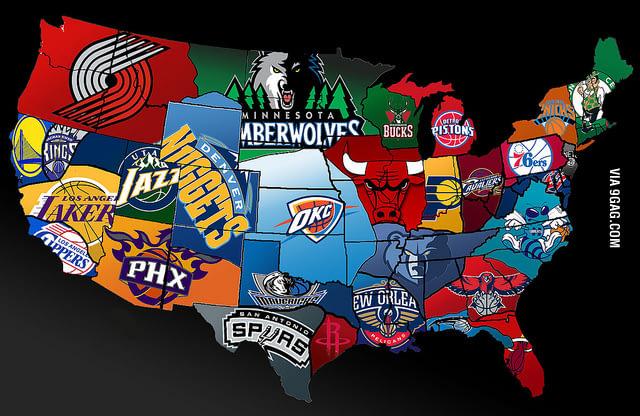 Nba America Map Free download NBA Map of America 9GAG [640x416] for your Desktop