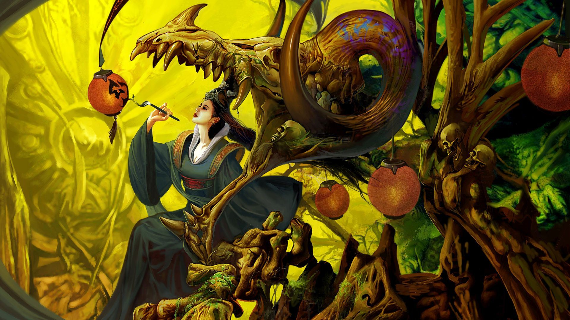 Geisha paintig the lamp wallpaper 41310 1920x1080