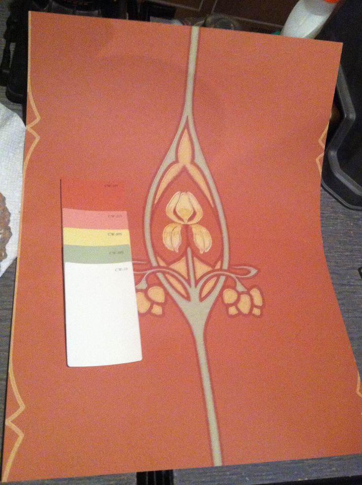 Iris Art Nouveau wallpaper from Historic Style and color chips from 736x985
