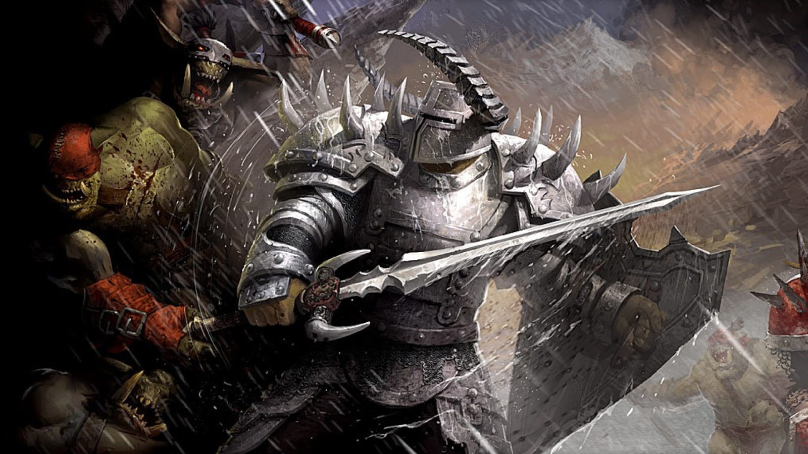 Epic Fight Orc Warrior Sword Shield Horn HD Wallpaper Backgrounds 1600x900