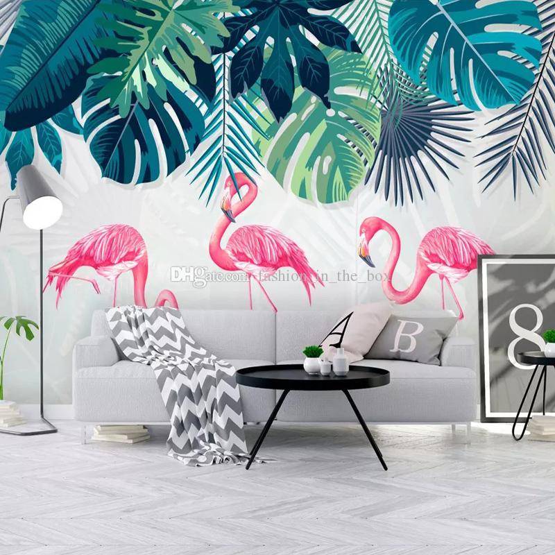 Free Download Tropical Rainforest Banana Leaf Flamingo Wallpaper