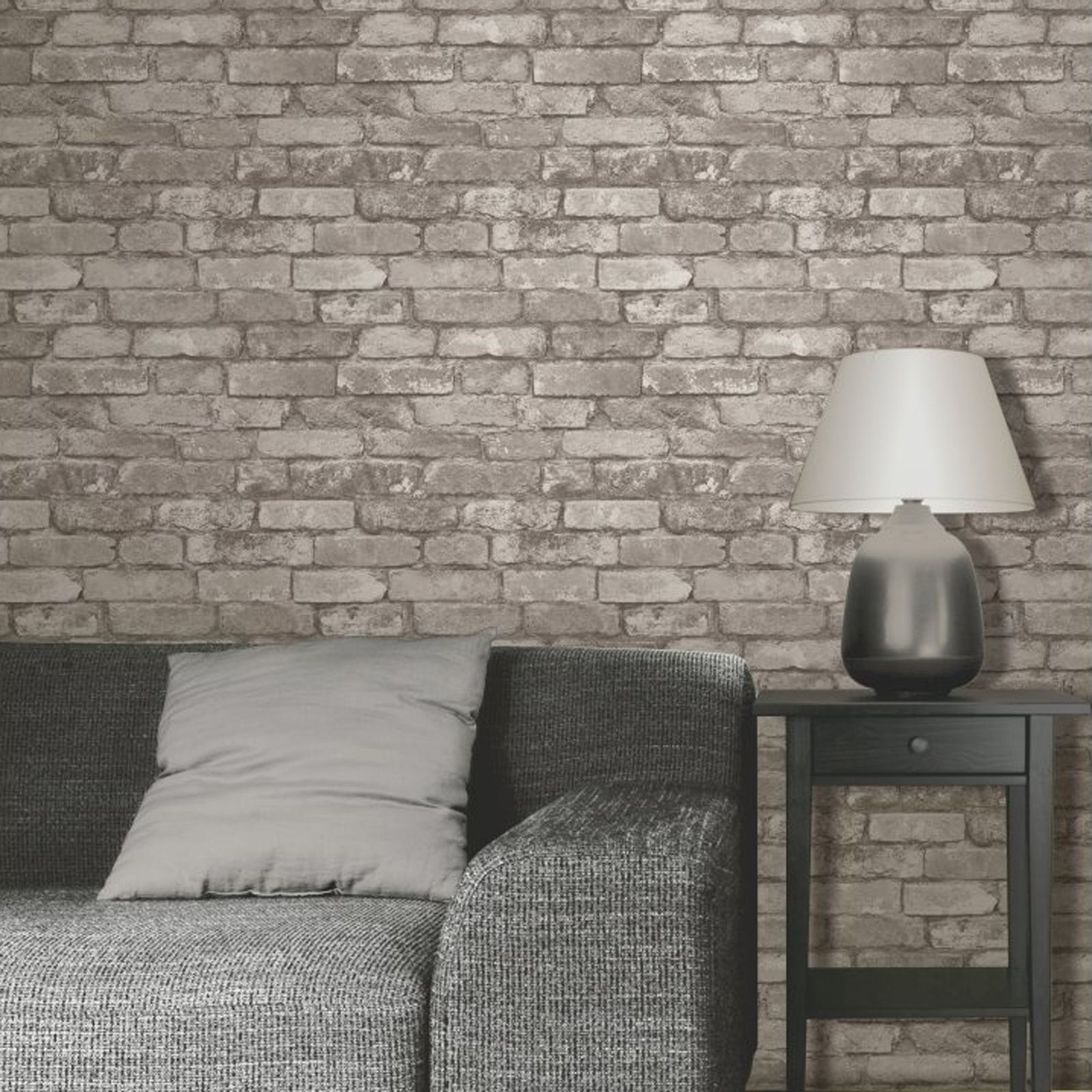 Details about RUSTIC BRICK EFFECT WALLPAPER 10m SILVER GREY NEW 1600x1600