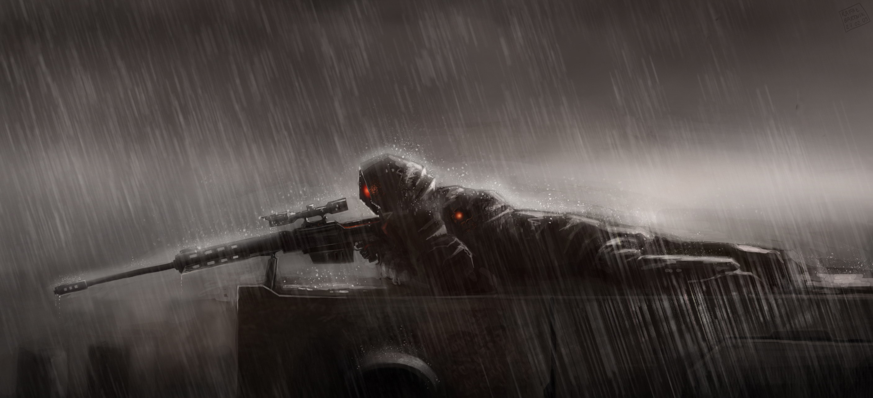 Wallpaper sniper rain sniper lies position rain sniper rifle 2812x1284
