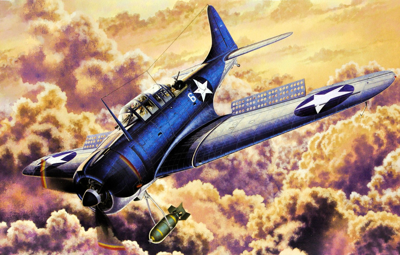 Wallpaper war art airplane painting aviation Douglas SBD 2 1332x850