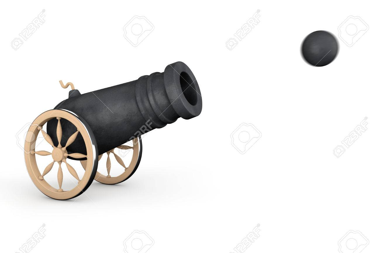 Old Pirate Cannon On A White Background Stock Photo Picture And 1300x866
