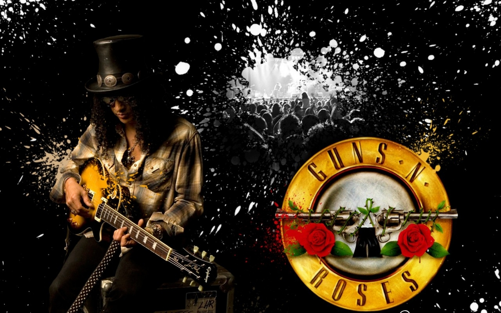 Wallpapers Download 1680x1050 black music guns rock slash rock music 1680x1050