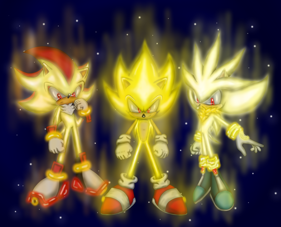 Super Sonic, Shadow, and Silver Earth Blue Sky II by ... |Super Sonic And Super Shadow And Super Silver Wallpaper