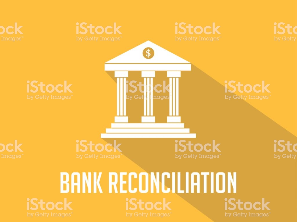 Bank Reconciliation White Text With Bank Office Building 1024x767